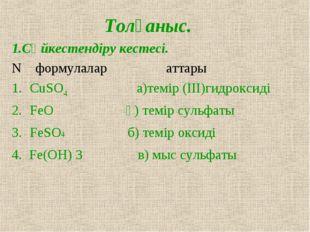 Толғаныс. 1.Сәйкестендіру кестесі. N формулалар аттары CuSO4 а)темір (III)гид