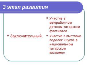 3 этап развития Заключительный. Участие в межрайонном детском татарском фести