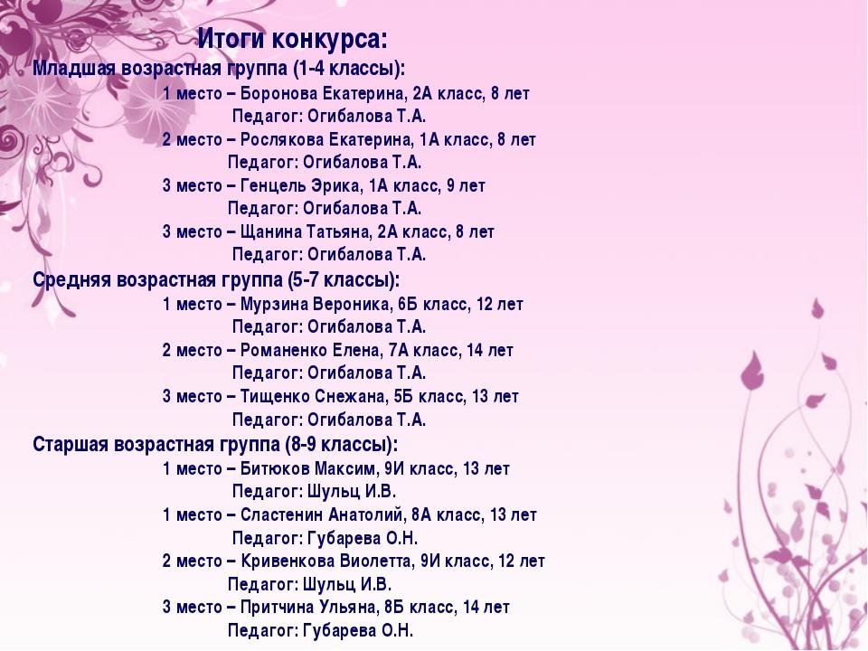 Итоги конкурса: Младшая возрастная группа (1-4 классы): 1 место – Боронова Е...