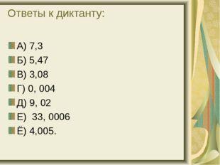Ответы к диктанту: А) 7,3 Б) 5,47 В) 3,08 Г) 0, 004 Д) 9, 02 Е) 33, 0006 Ё) 4