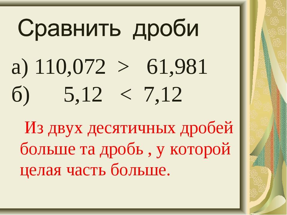 а) 110,072 > 61,981 б) 5,12 < 7,12 Из двух десятичных дробей больше та дробь...