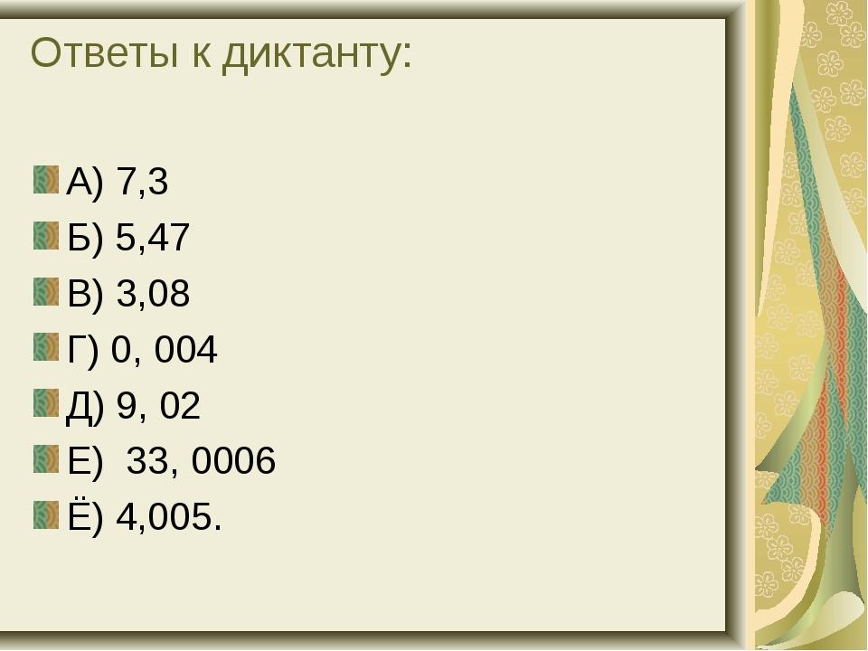 Ответы к диктанту: А) 7,3 Б) 5,47 В) 3,08 Г) 0, 004 Д) 9, 02 Е) 33, 0006 Ё) 4...