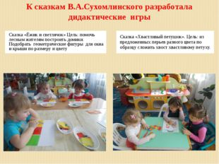К сказкам В.А.Сухомлинского разработала дидактические игры Сказка «Ёжик и све