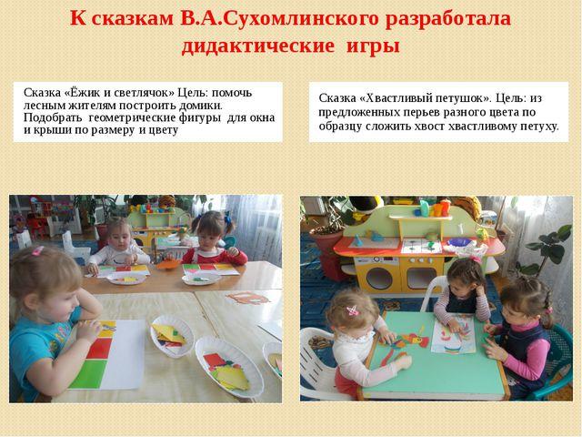 К сказкам В.А.Сухомлинского разработала дидактические игры Сказка «Ёжик и све...