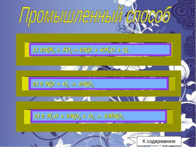 1) 4NH3 + 5O2 -> 4NO + 6H2O + Q 2) 2 NO + O2 -> 2NO2 3) 2 H2O + 4NO2 + O2 ->...