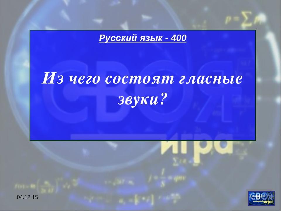 * Русский язык - 400 Из чего состоят гласные звуки?