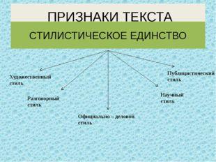 ПРИЗНАКИ ТЕКСТА СТИЛИСТИЧЕСКОЕ ЕДИНСТВО Художественный стиль Разговорный сти