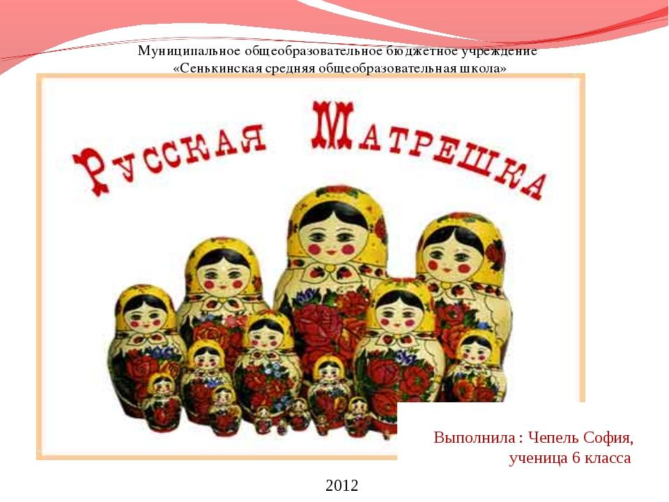 Муниципальное общеобразовательное бюджетное учреждение «Сенькинская средняя...