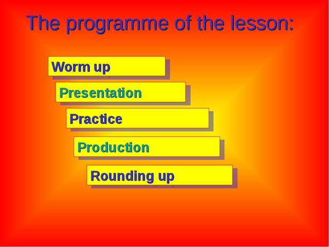 The programme of the lesson: Worm up Presentation Practice Production Roundin...