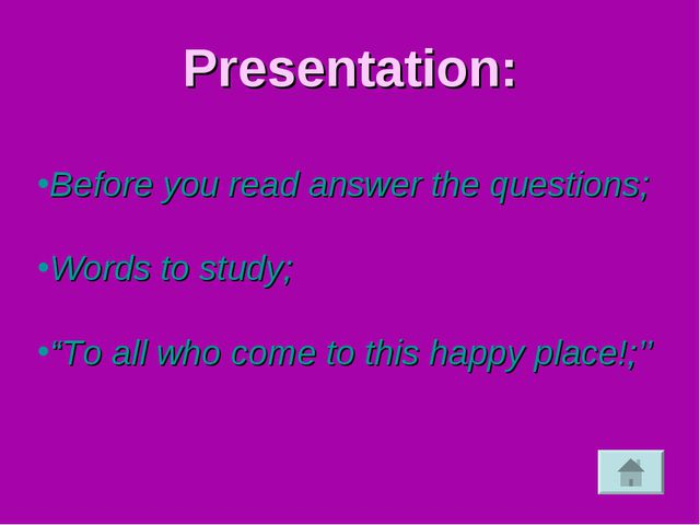 "Presentation: Before you read answer the questions; Words to study; ""To all w..."