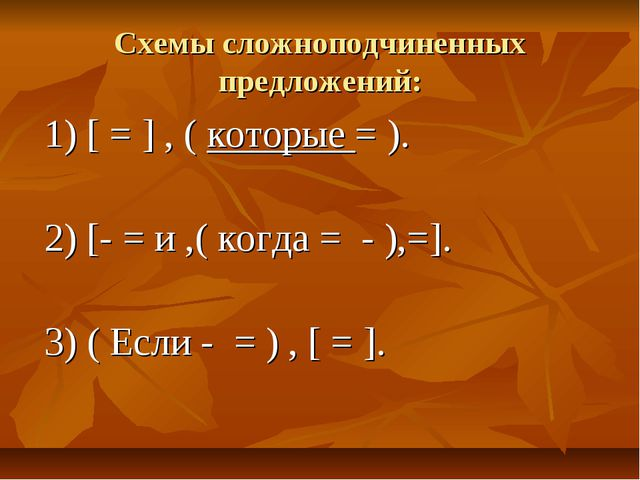 Схемы сложноподчиненных предложений: 1) [ = ] , ( которые = ). 2) [- = и ,( к...
