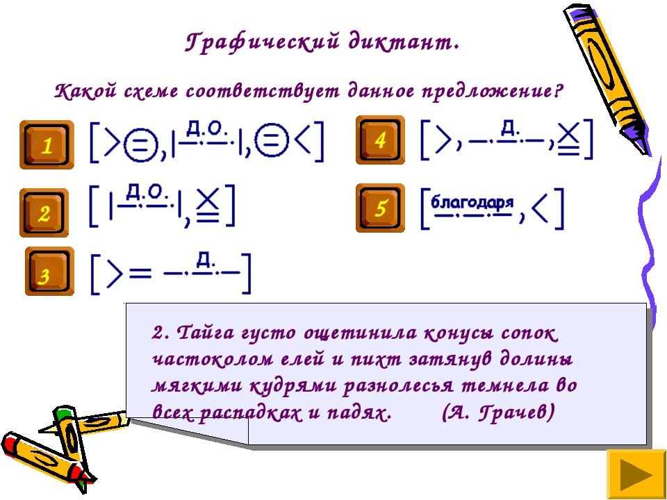 Графический диктант. Какой схеме соответствует данное предложение? 2. Тайга г...