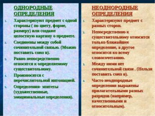 ОДНОРОДНЫЕ ОПРЕДЕЛЕНИЯ Характеризуют предмет с одной стороны ( по цвету, фо