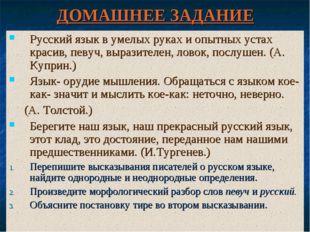 ДОМАШНЕЕ ЗАДАНИЕ Русский язык в умелых руках и опытных устах красив, певуч, в