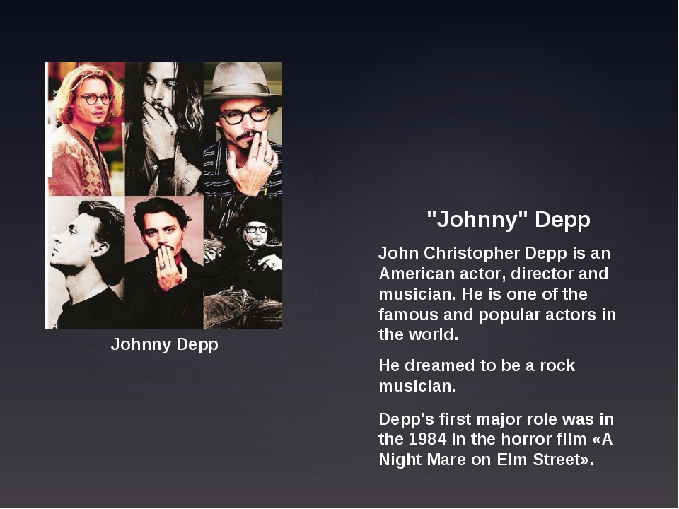 """Johnny"" Depp John Christopher Depp is an American actor, director and musici..."