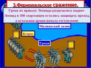 3.Фермопильское сражение. Малиакский залив Ксеркс Греки по приказу Леонида ра