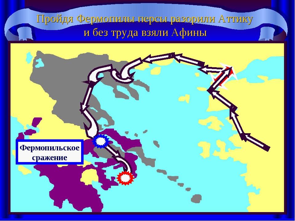 Пройдя Фермопилы персы разорили Аттику и без труда взяли Афины Фермопильское...