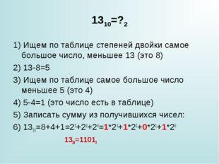 1310=?2 1) Ищем по таблице степеней двойки самое большое число, меньшее 13 (э