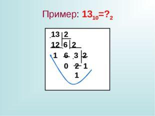 Пример: 1310=?2 -13 2 12 -6 2 1 6 -3 2 0 2 1 1