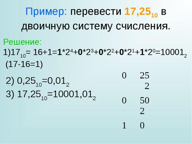 Пример: перевести 17,2510 в двоичную систему счисления. Решение: 1710= 16+1=1...