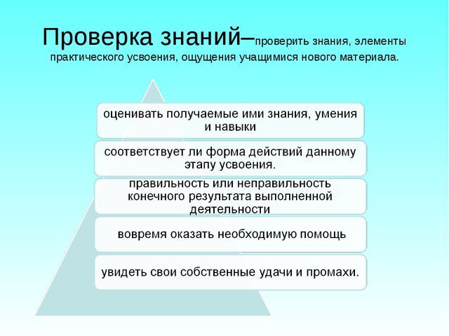 Проверка знаний–проверить знания, элементы практического усвоения, ощущения у...