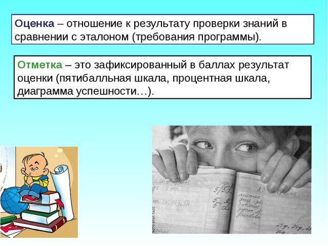 Оценка – отношение к результату проверки знаний в сравнении с эталоном (требо...