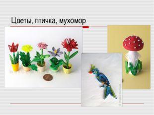 Цветы, птичка, мухомор
