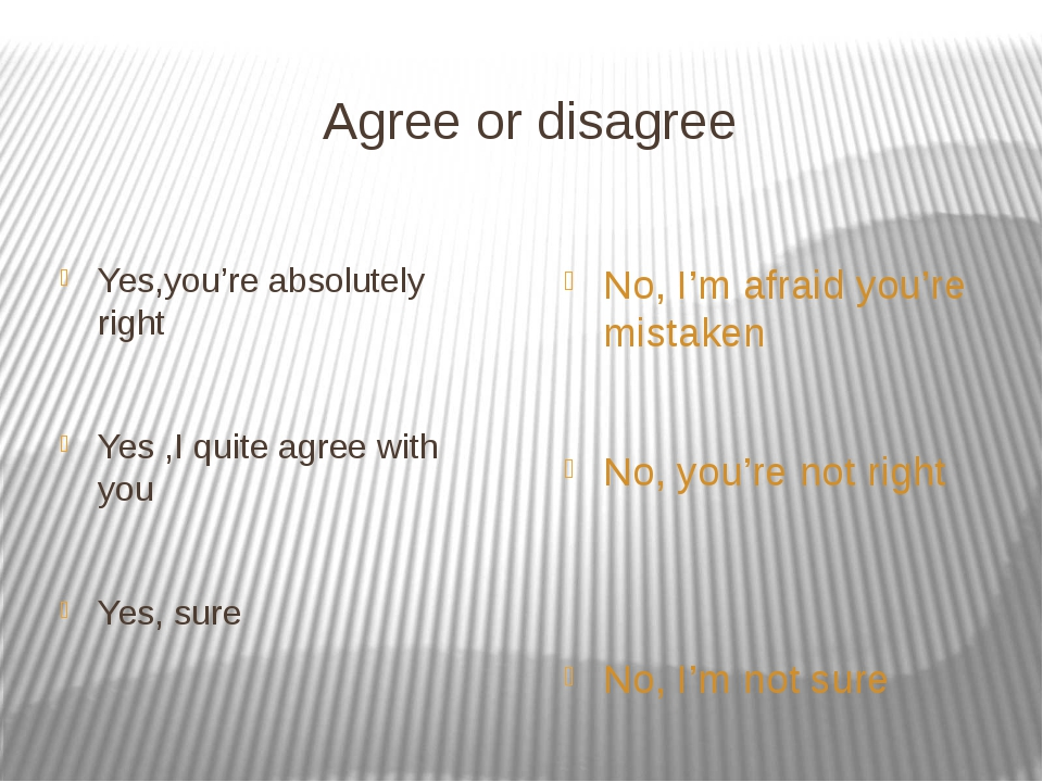 Agree or disagree Yes,you're absolutely right Yes ,I quite agree with you Yes...