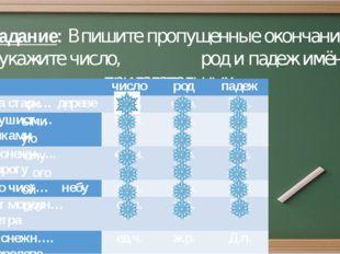 Задание: Впишите пропущенные окончания, укажите число, род и падеж имён прила