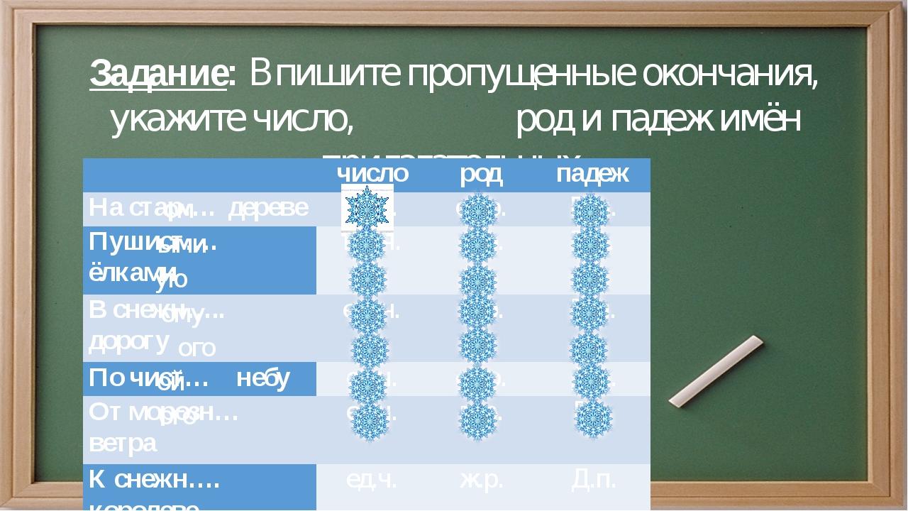 Задание: Впишите пропущенные окончания, укажите число, род и падеж имён прила...