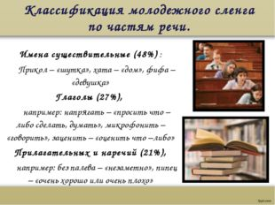 Классификация молодежного сленга по частям речи.  Имена существительные (48