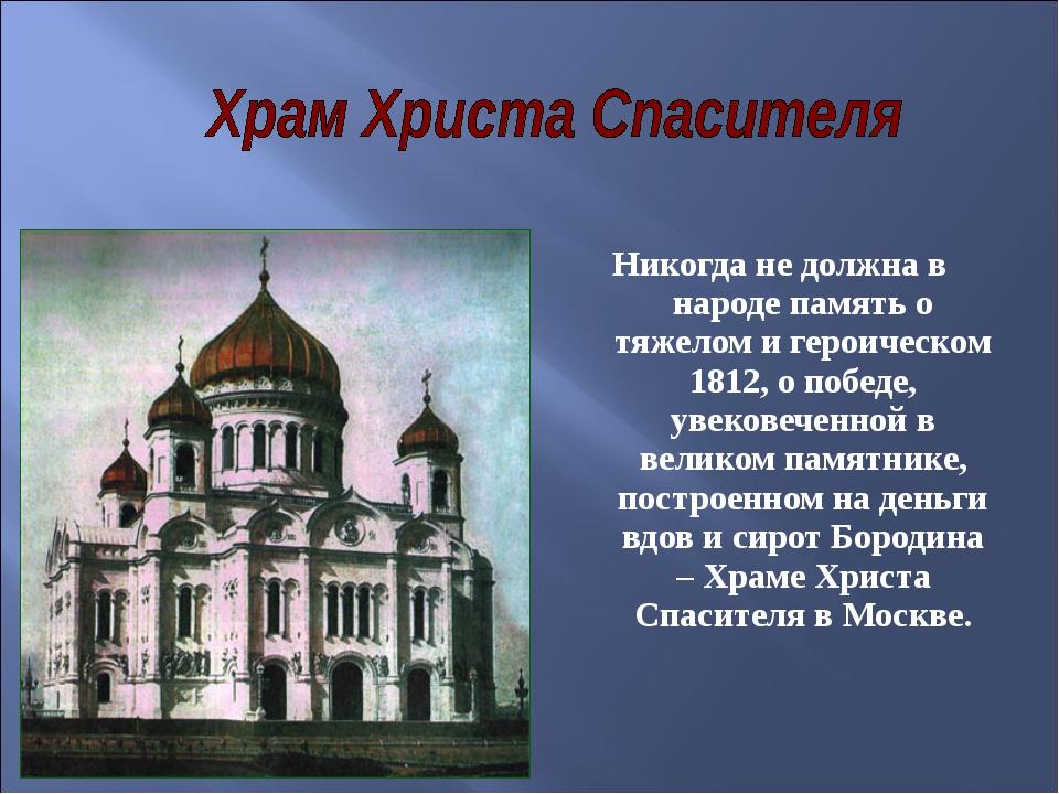 Никогда не должна в народе память о тяжелом и героическом 1812, о победе, уве...