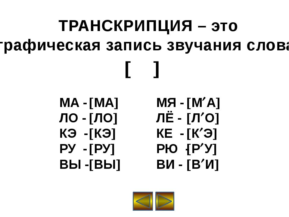 ТРАНСКРИПЦИЯ – это графическая запись звучания слова.   МА - ЛО - КЭ - РУ...