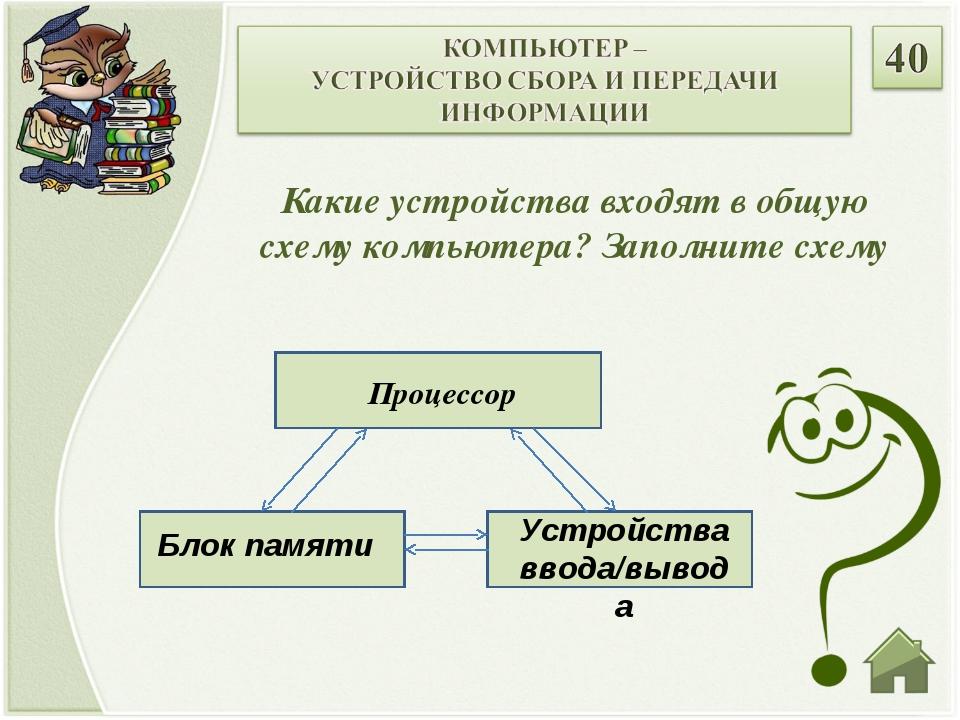 Какие устройства входят в общую схему компьютера? Заполните схему Процессор Б...