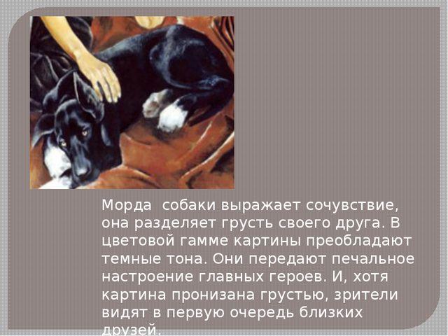 Морда собаки выражает сочувствие, она разделяет грусть своего друга. В цветов...