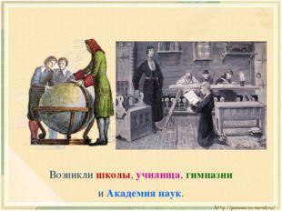 Возникли школы, училища, гимназии и Академия наук.