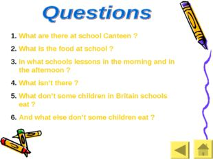 What are there at school Canteen ? What is the food at school ? In what schoo
