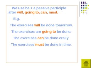 We use be + a passive participle after will, going to, can, must. E.g. The e
