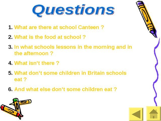 What are there at school Canteen ? What is the food at school ? In what schoo...