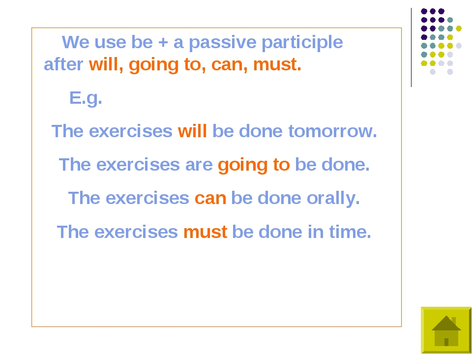 We use be + a passive participle after will, going to, can, must. E.g. The e...