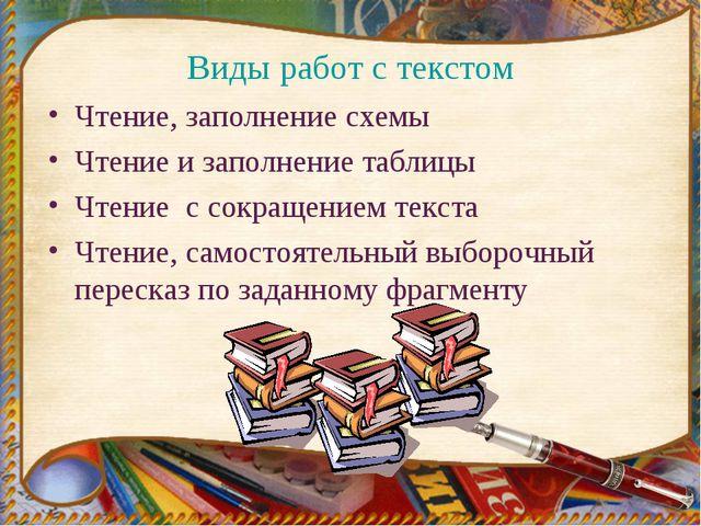 Виды работ с текстом Чтение, заполнение схемы Чтение и заполнение таблицы Чте...