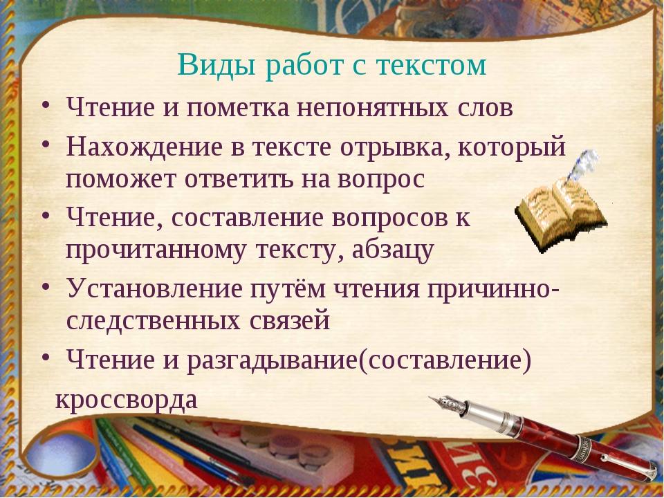 Виды работ с текстом Чтение и пометка непонятных слов Нахождение в тексте отр...