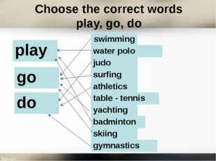 Choose the correct words play, go, do table- tennis athletics badminton swimm