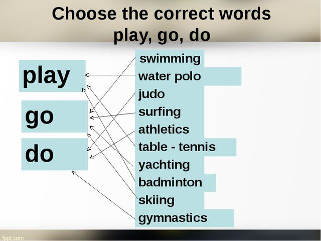 Choose the correct words play, go, do table- tennis athletics badminton swimm...