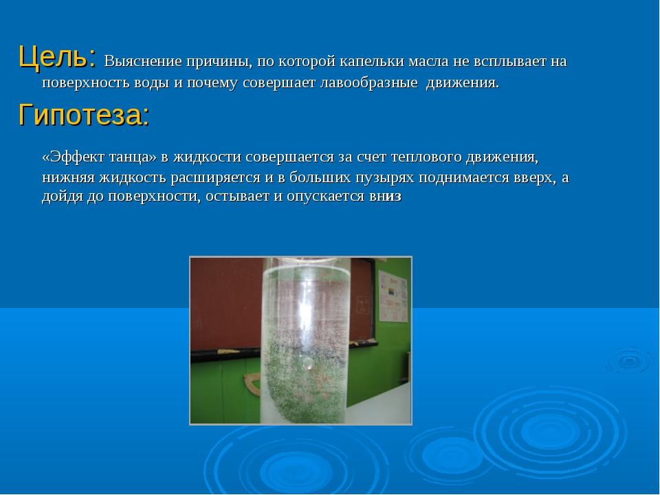 Цель: Выяснение причины, по которой капельки масла не всплывает на поверхност...