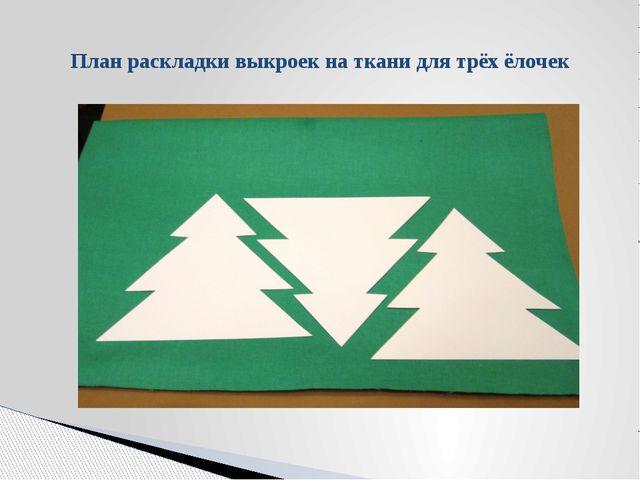 План раскладки выкроек на ткани для трёх ёлочек