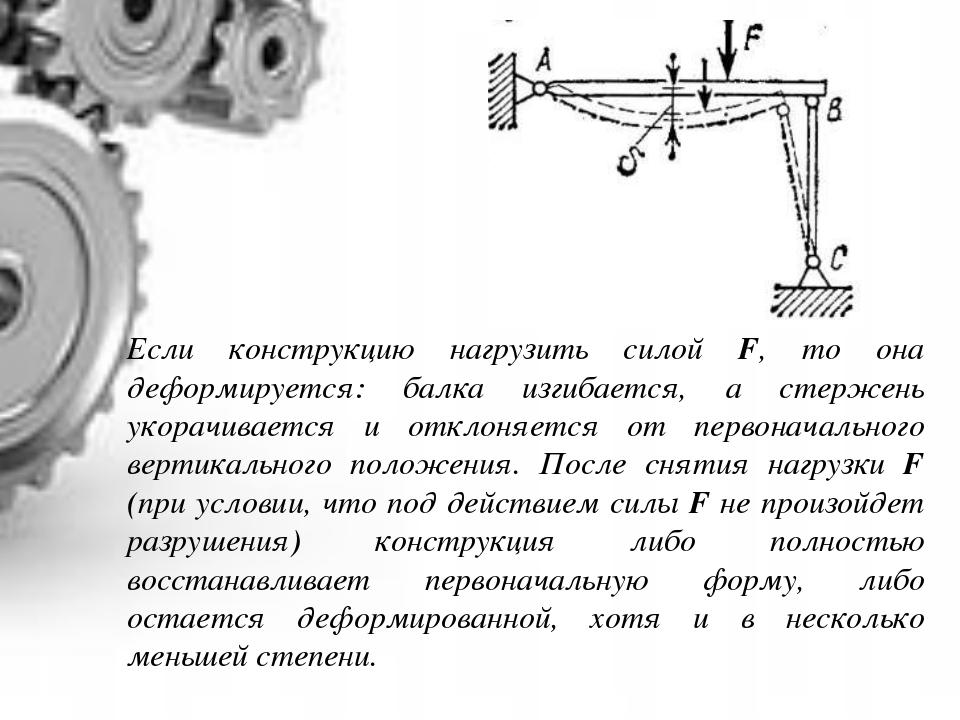 Если конструкцию нагрузить силой F, то она деформируется: балка изгибается, а...