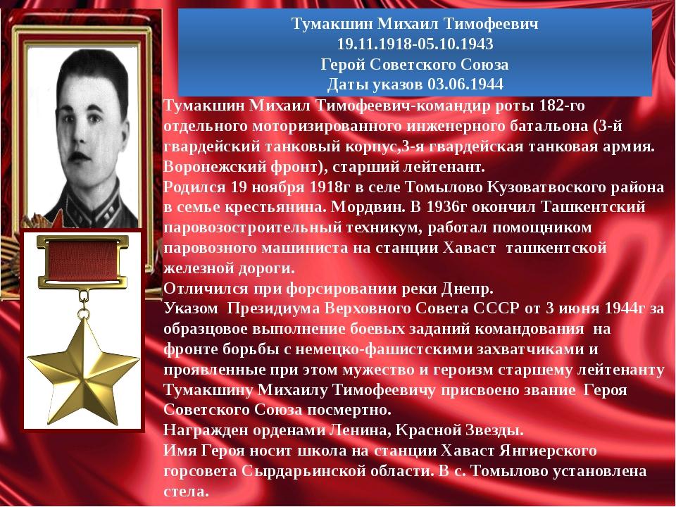 Тумакшин Михаил Тимофеевич 19.11.1918-05.10.1943 Герой Советского Союза Даты...