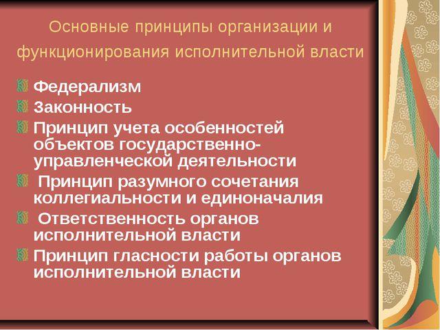 Основные принципы организации и функционирования исполнительной власти Федера...