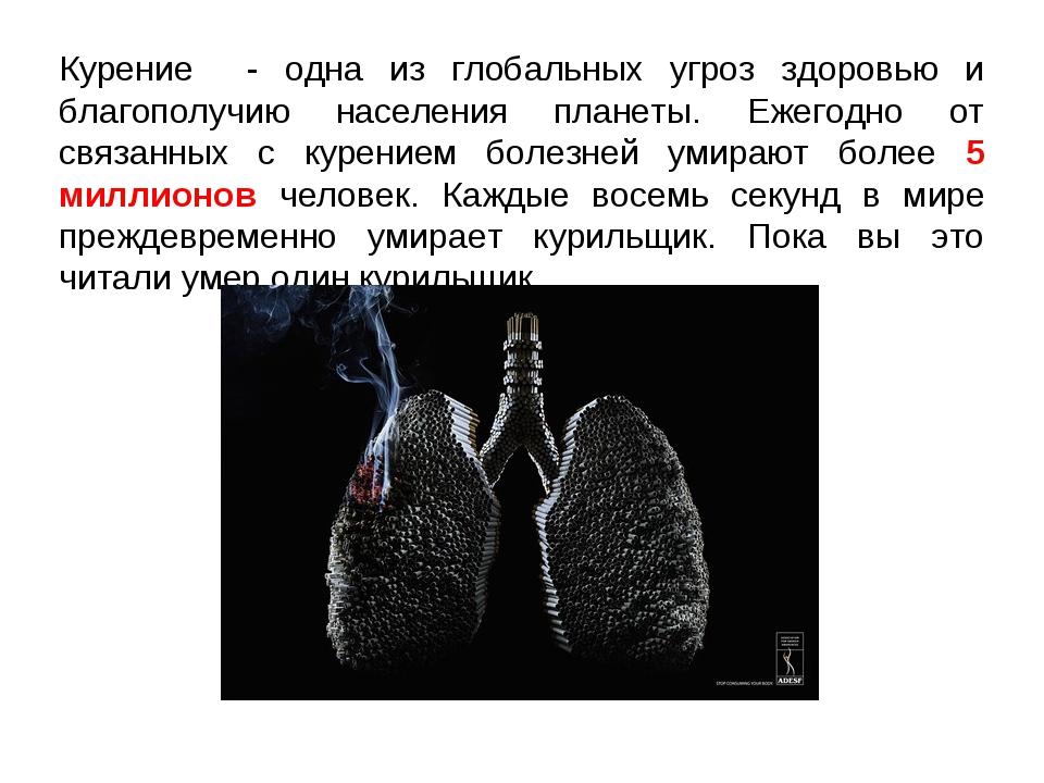 Курение - одна из глобальных угроз здоровью и благополучию населения планеты....